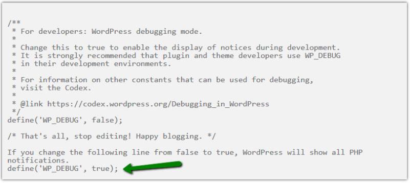 ویرایش wp-debug در فایل wp-config.php